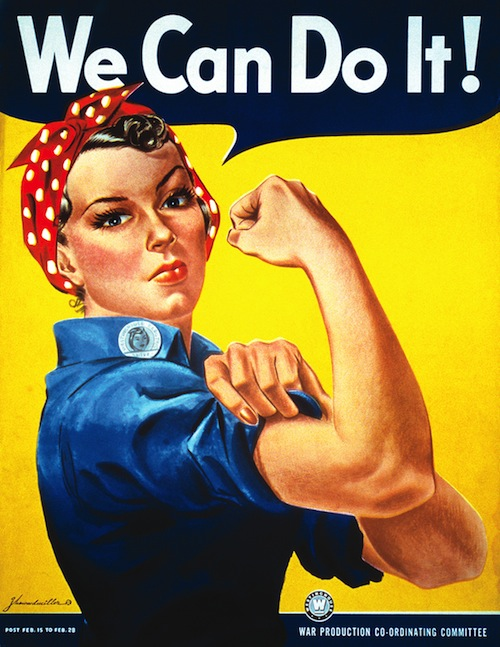 """Vintage Image of the """"We can do it!"""" Rosie the Riveter Poster by J Howard Miller"""